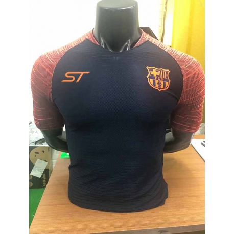Новотехнологичная футболка барселоны черная оранжевая