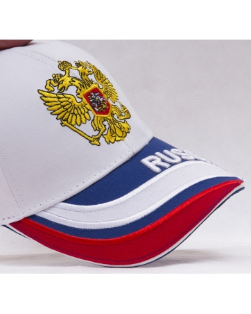 (Белый/Золотой) Бейсболки России футбольная форма
