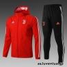 (Красный/Белый) Ветрозащитный спортивный костюм ювентус с капюшоном 2019 - 2020