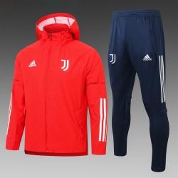 (Красный/Темно синий) Ветрозащитный спортивный костюм ювентус с капюшоном 2021- 2020