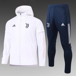 (Белый/Темно синий) Ветрозащитный спортивный костюм ювентус с капюшоном 2021- 2020