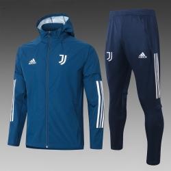 (Темно синий/Белый) Ветрозащитный спортивный костюм ювентус с капюшоном 2021- 2020