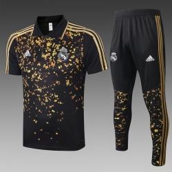 (Черный Золотой) Футбольный поло костюм реал мадрид 2021 2020