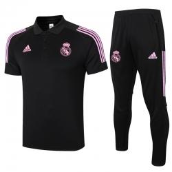 (Черный/Розовый) Футбольный поло костюм реал мадрид 2021 2020