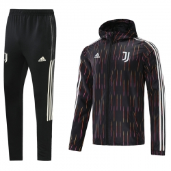 Спортивный ветрозащитный костюм ювентус 2021 (Черный/Белый)