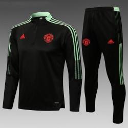 (Черный/Фисташковый) Теплые тренировочные костюмы Манчестер юнайтед 2021 2022
